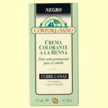 Crema colorante cubre canas - Henna color negro - Corpore Sano - 125 ml