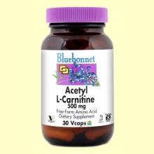 Acetil L-Carnitina 500 mg - 30 cápsulas vegetales - Bluebonnet