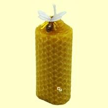 Vela bujía baja de cera virgen con abeja decorativa - 1 vela - Tierra 3000