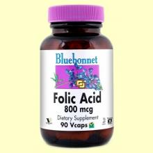 Ácido fólico 800 mcg - 90 cápsulas vegetales - Bluebonnet