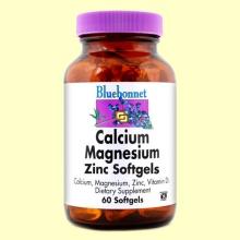 Calcio Magnesio Zinc con Vitamina D3 - 60 cápsulas blandas - Bluebonnet *