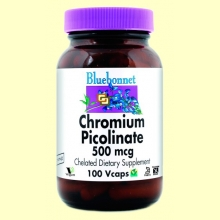 Cromo Picolinato 500 mg - 100 cápsulas vegetales - Bluebonnet