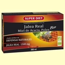 Jalea Real Fresca Bio 1500 mg - Miel de Acacia y Polen - Memoria - 20 ampollas - Super Diet