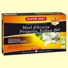 Miel de Acacia, Propolis y Polen Bio - 20 ampollas - Super Diet
