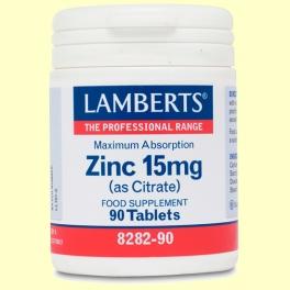 Zinc 15 mg (como Citrato)- Minerales - Lamberts - 90 tabletas