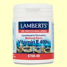 Vitamina E natural 400 UI - 60 cápsulas - Lamberts