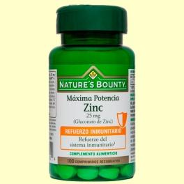 Zinc 25 mg - 100 comprimidos - Nature's Bounty
