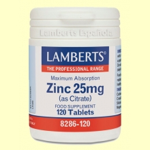 Zinc 25 mg (como Citrato) - 120 tabletas - Lamberts