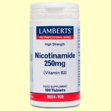 Nicotinamida 250 mg - Vitamina B3 - Lamberts - 100 tabletas