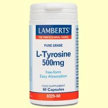 L-Tirosina 500 mg - Aminoácidos - Lamberts - 60 cápsulas