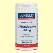 L-Fenilalanina 500 mg - Aminoácidos - Lamberts - 60 cápsulas