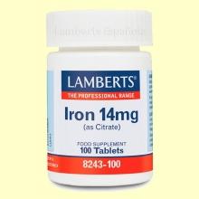 Hierro 14 mg (como Citrato) - Minerales - Lamberts - 100 tabletas