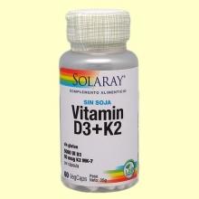 Vitamina D3 + K2 - 60 comprimidos - Solaray