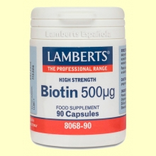 Biotina 500 µg- Vitamina B - Lamberts - 90 cápsulas