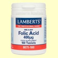 Ácido fólico 400 µg - Vitamina B - 100 tabletas - Lamberts