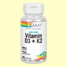 Vitamina D3 y K2 - 120 cápsulas - Solaray