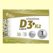 Vitaminas D3 + K2 - 30 cápsulas - Pinisan