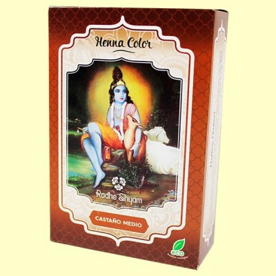 Henna Castaño Medio Polvo - 100 gramos - Radhe Shyam