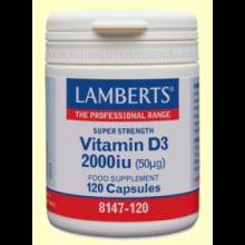Vitamina D3 2000 UI 50 µ - 120 cápsulas - Lamberts