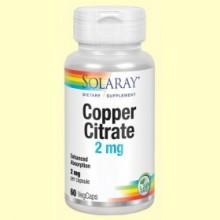 Copper Citrate 2 mg - 60 cápsulas - Solaray