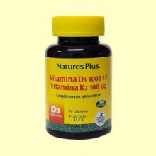 Vitamina D3 Vitamina K2 - 90 cápsulas - Natures Plus