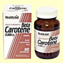 Betacaroteno Natural 23000 UI - Health Aid - 30 cáps - Betacarotene 15 mg
