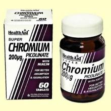 Cromo Picolinato 200 mcg con niacina - 60 comprimidos - Health Aid