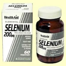 Selenio 200 ug - Liberación prolongada - 60 comprimidos - Health Aid