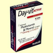 Day-Vit Active con ginseng y CoQ10 - Coenzima Q-10 - 30 comprimidos - Health Aid